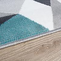 Milan Grey Silver Cream Duck Egg Blue Kaleidoscope Geometric Modern Traditional Living Room Rug Home & Kitchen Bedding & Linens