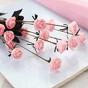 AMAZZANG-15 Heads Rose Artificial Fake Flower Bouquet Home Floral Wedding Party Décor PE 8