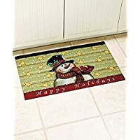 Rustic Country Christmas Holiday Frosty Snowman Kitchen Bath or Welcome Mat Accent Rug Doormat Primitive Americana
