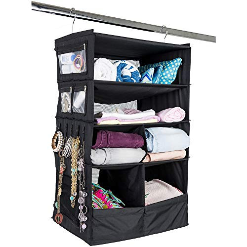 Suitcase Organizer   Durable Portable Travel Packing System Hanging Luggage Cube (Black)