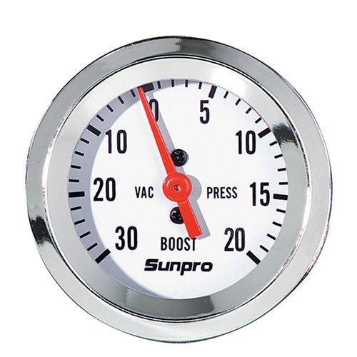Sunpro CP8203 StyleLine Mechanical Vacuum/Boost Gauge - White Dial