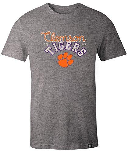 NCAA Clemson Tigers Adult Women NCAA Classic Arch Script Image One Women's Triblend Short sleeve T-Shirt, Small,HeatherGrey