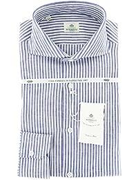 New Borrelli Navy Blue Striped Extra Slim Shirt