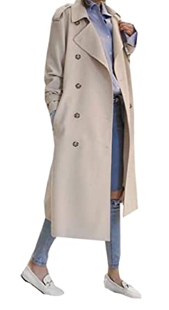 f11bf23500 ouxiuli Long Trench Coat,Women's Elegant Double Breasted Slim Fit Winter  Overcoat Outerwear 1 XXS