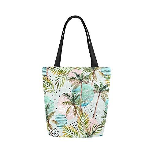 (Summer Palm Tree Canvas Tote Bag Handbag Purse for Women)