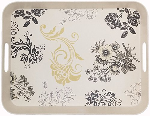 Natural Bamboo Fiber Melamine Serving Tray for Food - Cream Color with Black and Gold Floral Print - 15.25 inches x 11.75 inches x 1.75 inches - Premium Breakfast Tray - by Clean Cut (Trays Melamine With Handles)