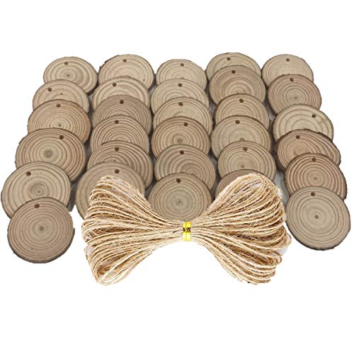 40 pcs 2.4-2.8 inch Natural Wood Slices for Craft Wood Unfinished Kit Predrilled with Holes Wooden Circles Great for Arts Rustic Christmas Ornaments DIY Wed]()