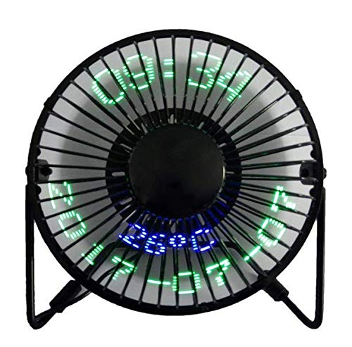 USB LED Fan, SAYTAY Portable Desktop Fan with Real Time Temperature and Build in Message Personal Cooling Fan 360° Rotation Durable for Home and Office (SWR)