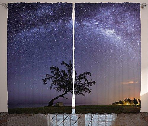 [Dark Purple Curtains Farm House Decor Tree and Milky Way Outer Space Theme Dreamy Decorative Art Modern Home Living Room Bedroom Decor 2 Panel Set Purple Dark Green,Size:2 x 54