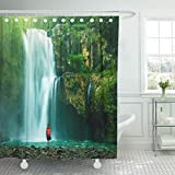 Emvency Shower Curtain Waterproof Adjustable Polyester Fabric Green Indonesia Waterfall Hidden in the Tropical Jungle Brazil Peru Water 66 x 72 Inches Set With Hooks For Bathroom