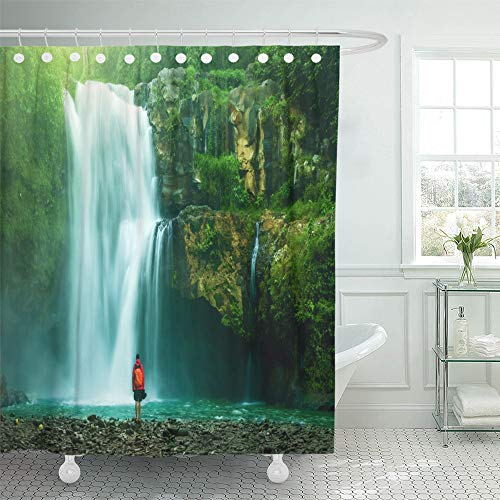 Emvency Shower Curtain Waterproof Adjustable Polyester Fabric Green Indonesia Waterfall Hidden in the Tropical Jungle Brazil Peru Water 66 x 72 Inches Set With Hooks For Bathroom by Emvency