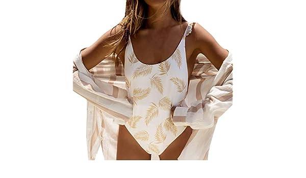 Bikini para Mujer Rrsplend De Una Pieza Push Up con Estampado Alto Bikini De Playa Ducha De BañO Monokini Traje De BañO Hojas con Volantes Imprimir Sexy Traje De BañO De Una