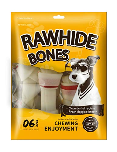 MODONE Dog Rawhide Bones,100% Nature Pressed Dog Bone Treat with Real Pork for Small Dog and Puppy (Small 5