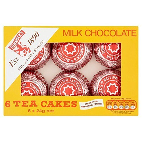 Tea Cakes - Tunnock's Tea Cakes Milk Chocolate 6 x 24g - Pack of 6