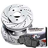Power Sport Cross Drilled Slotted Brake Rotors and Ceramic Brake Pads Kit -80523 [FRONTS]