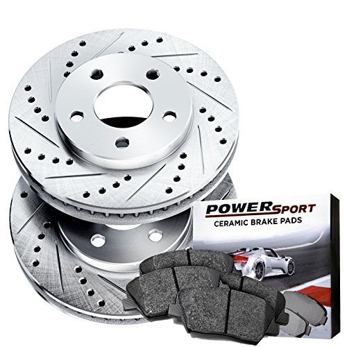 Power Sport Cross Drilled Slotted Brake Rotors and Ceramic Brake Pads Kit -80589 [FRONTS] ()