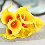 JIALE3536 Artificial Flowers 10Pcs Real Touch Lily Calla Artificial Flower Bouquets Home Wedding Bridal Decor Decorative Flowers & Wreaths 10 Colors,Orange