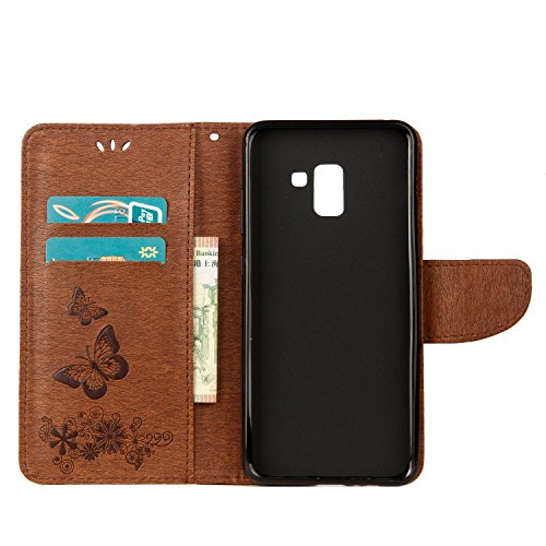 Funda Galaxy A8+ (2018), SsHhUu Funda PU Piel Genuino Carcasa en Folio [Ranuras para Tarjetas] [Cierre Magnetico] con Acollador para Samsung Galaxy A8+ (2018) (6.0) Púrpura Marrón
