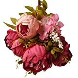 Vintage Artificial Peony Silk Flowers Bouquet Home Wedding Decoration Dining-table Hotel party Wedding DIY Craft Fake Floral Marriage Decoration
