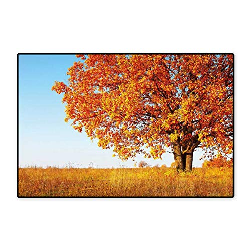 Fall Decor Floor Mat for Kids Lonely Ancient Oak Tree Grass Bushes Field Serene Rural Scenery Floor Mat Pattern 32