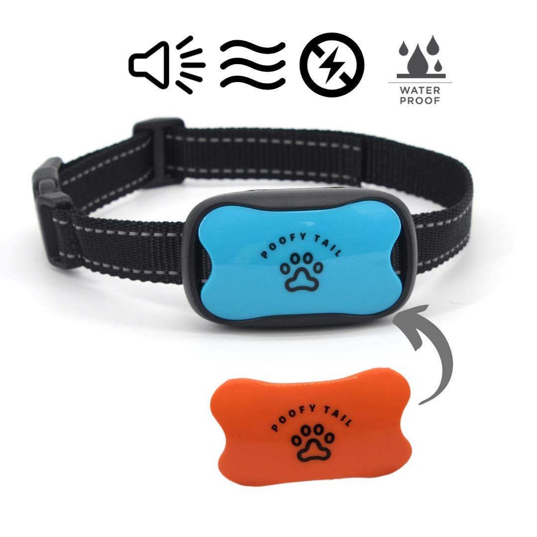 POOFY TAIL Bark Collar for Small, Medium, Large Dogs, Adjustable Levels -Sound and Vibration, No Shock, Stops Dogs Barking, Blue/Orange