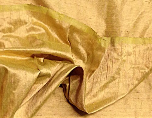 Yellow gold/green 2tone 100% Silk Dupioni Fabric 54