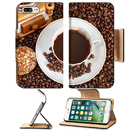 Luxlady Premium Apple iPhone 7 Plus Flip Pu Leather Wallet Case iPhone7 Plus 24433734 above view cup of coffee and roasted coffee beans with retro wood manual grinder with biscuit