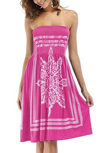 Zyyfly Women Bathing Suit Cover Ups Dress Strapless Totem Tribal Dress Summer Beachwear Rose Red -