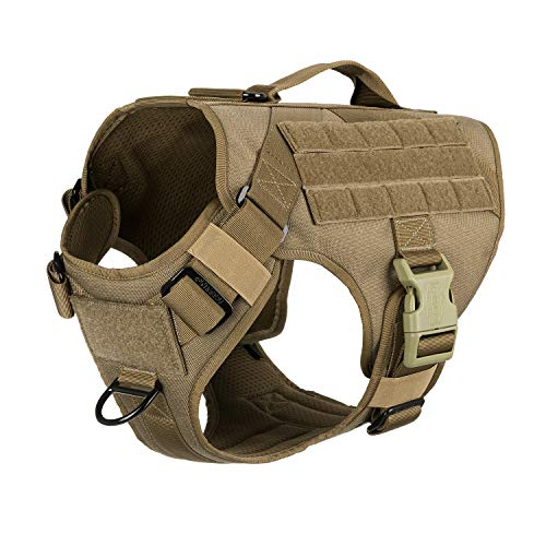 ICEFANG Lightweighting Tactical Dog Harness with Vertical Handle,K9 Training Working Molle Vest,No-Pull Front Clip, Hook and Loop Panel for Dog ID Personalized Patch (L(Chest:28'-35'), Coyote Brown)