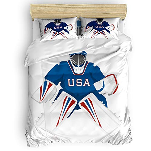 GreaBen Full Beding Duvet Cover Sets 4 Pieces Comforter Cover Set,Hockey Player Bed Sheet Set for Girls Boys,Include 1 Comforter Cover 1 Bed Sheets 2 Pillow Cases (Full Hockey Comforter)