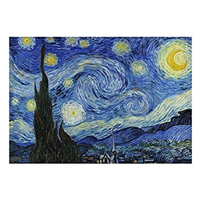 Alluring Handicraft, Starry Night by Vincent Van Gogh Dutch Impressionism 20th Century Artist Peel and Stick Large Wall Mural Removable Wallpaper, Classic Design