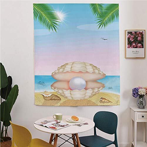 Pearls Blackout Window curtain,Free Punching Magic Stickers Curtain,Pearl in Big Shell on Tropic Sandy Beach Sun Rays and Trees Exotic Creature Print,for Living Room,study, kitchen, dormitory, Hotel,C