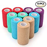 Vet Self-Adhesive Cohesive Wrap Bandage Tape by LotFancy, Elastic Non-Woven, 10 Rolls, Assorted Colors (4 inch x 5 yard)