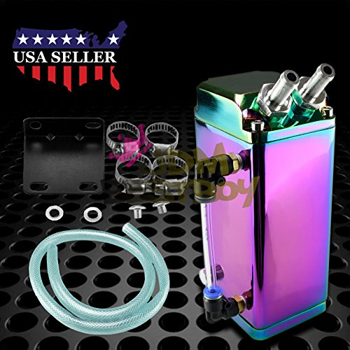 JDMBESTBOY Neo Chrome High Capacity Square Billet Aluminum Engine Oil Catch Tank Reservoir Breather Can Chrome Billet Oil