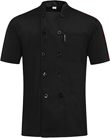 Pinji - Chaqueta de Cocinero Básica para Hombres y Mujeres, Camisa de Chef de Manga Corta para Verano, Uniforme de Trabajo para Chef de Restaurante Hotel: Amazon.es: Ropa y accesorios