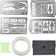 Survival Card Multitool Camping Gear with Fishing Line Multipurpose EDC Kit for Fishing Outdoor Hiking Hunting