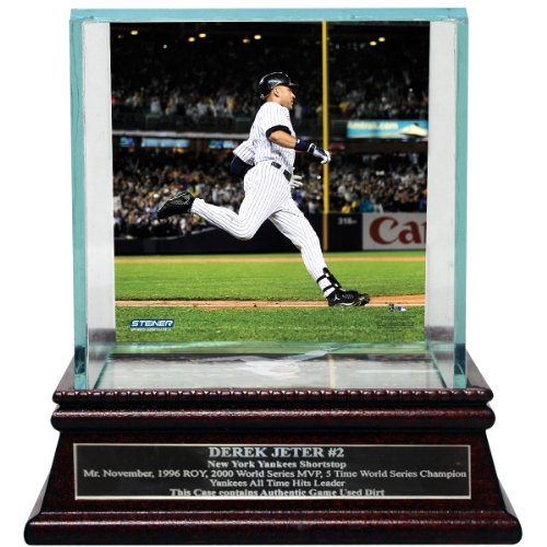 Derek Jeter Moments: Passing Gehrig Background Glass (Single) Baseball Case With Nameplate (Nameplate Single)
