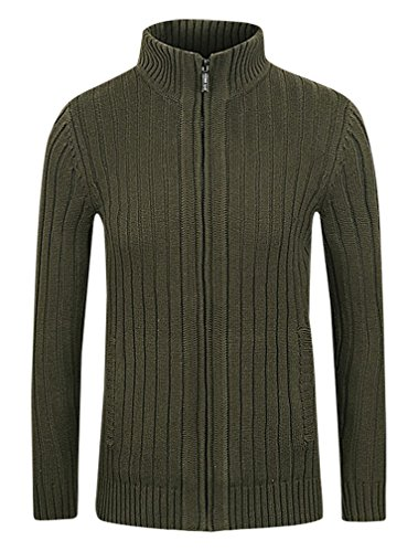 BAMan Men Solid Color Ribbed Knit Zip Up 2 Pocket Stand Collar Wool Cardigan, ArmyGreen S ,Manufacturer(L)