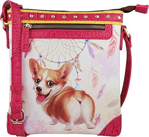 B BRENTANO Vegan Cute Animal Graphic Crossbody Bag Purse with Rhinestones and RFID Protection (Boho Fiona RF)