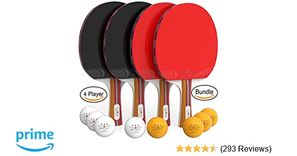 Amazon.com  Ping Pong Paddle Set (4-Player Bundle) 4 Ping Pong Paddles  804097520431c