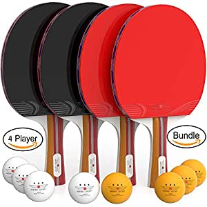 Amazon.com  Ping Pong Paddle Set (4-Player Bundle) 4 Ping Pong ... a5c89d9d608e6