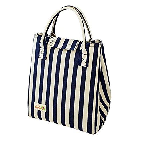 Pusheng Lunch Bag Oxford Stripe Picnic Cooler Bag Waterproof Thicker Aluminum Foil Ice Bag Foldable Lunch Tote Bag for Women Kids Girls