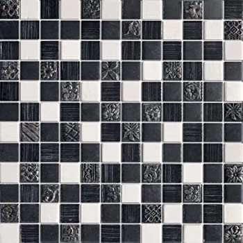 Galaxy 1x1 Black Glass Mosaic Tile Grey Glass Mosaic Tile