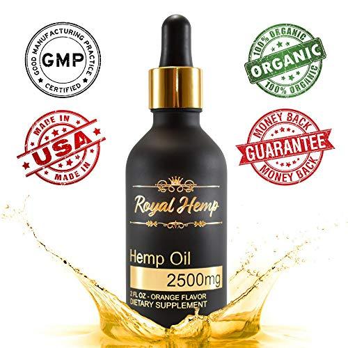 (Royal Hemp - Hemp Oil for Pain & Anxiety Relief - 2500mg - Organic Hemp Drops - Natural Hemp Oils for Better Sleep, Mood & Stress - Pure Hemp Extract - Orange Flavor)