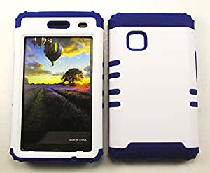 For LG 840g Case, 840G, Hybrid Impact Dual Layer Holster Silicone Case Cover, New, Rubberized White Snap + Dark Blue Skin Bumper Case Snap-on Protector Hard - DB-A008-BH accessoriesnmore
