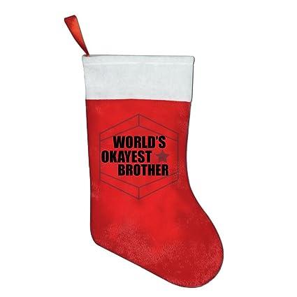Okayest hermano del mundo calcetines diseños de Papá Noel Classic bebé calcetín de Navidad