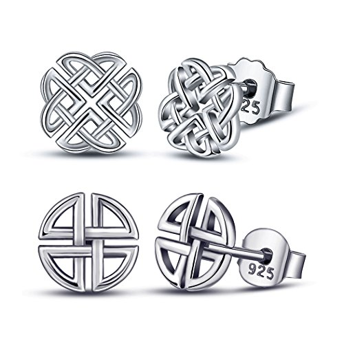 (2 Pairs of Silver Studs Earrings, AEONSLOVE 925 Sterling Silver Irish Celtic Knot Love Heart Four Leaf Clover Stud Earrings, Gifts for Women Girls (CYE029-30))