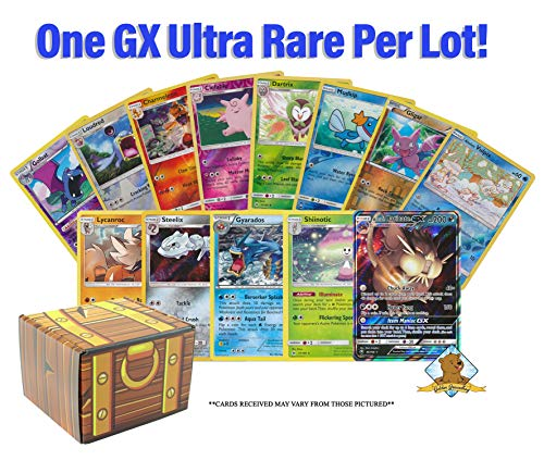 20 Card Pokemon Lot - 15 Reverse Foils - 3 Rares - 1 Holo Rare - 1 GX! Includes Golden Groundhog Treasure Chest Storage Box!