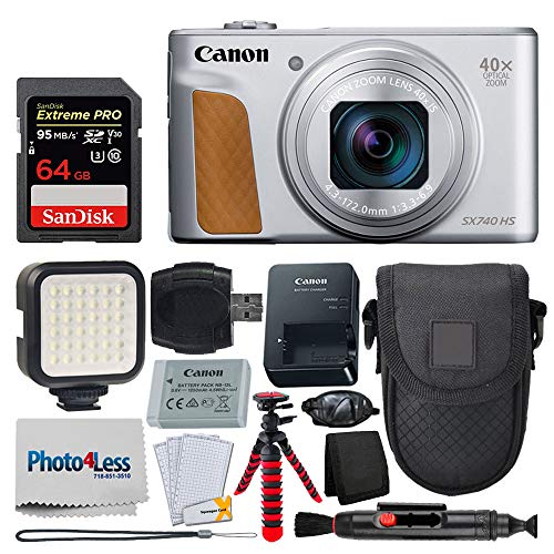 - Canon PowerShot SX740 HS Digital Camera (Silver) + 64GB Memory Card + Point & Shoot Case + Flexible Tripod + LED Video Light + USB Card Reader + Cleaning Pen + Screen Protectors - Accessory Bundle