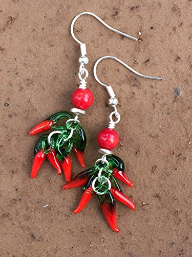 Lampwork Red Glass, Jalapeno Pepper Earrings